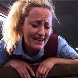 Blonde tart cries in pain while being caned after school